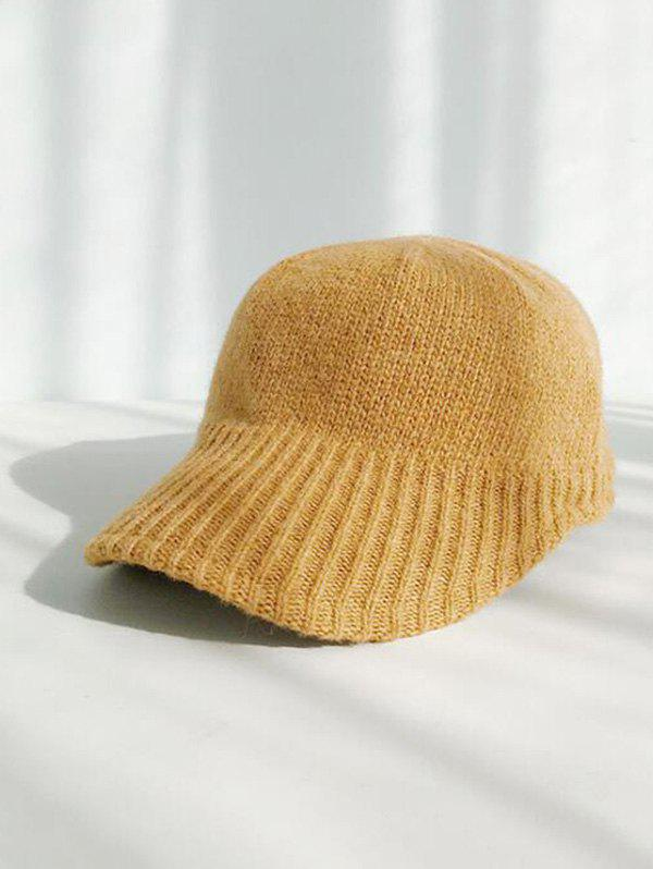 Winter Knitted Peaked Hat - YELLOW