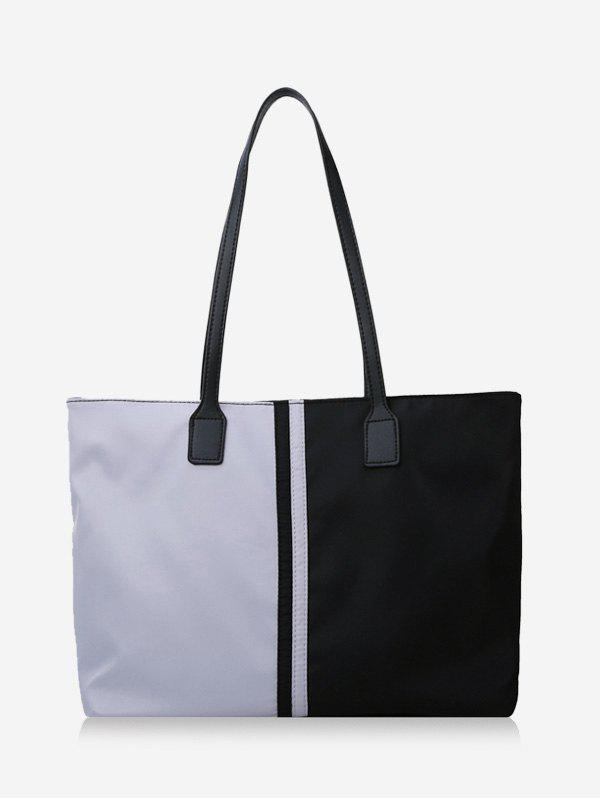 Two Tone Colorblock Nylon Tote Bags with Zipper - BLACK