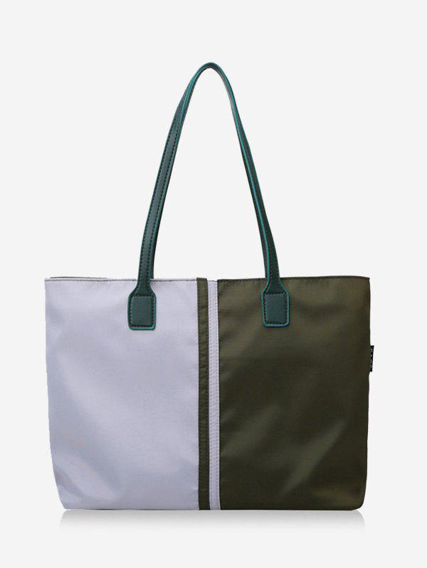 Two Tone Colorblock Nylon Tote Bags with Zipper - ARMY GREEN