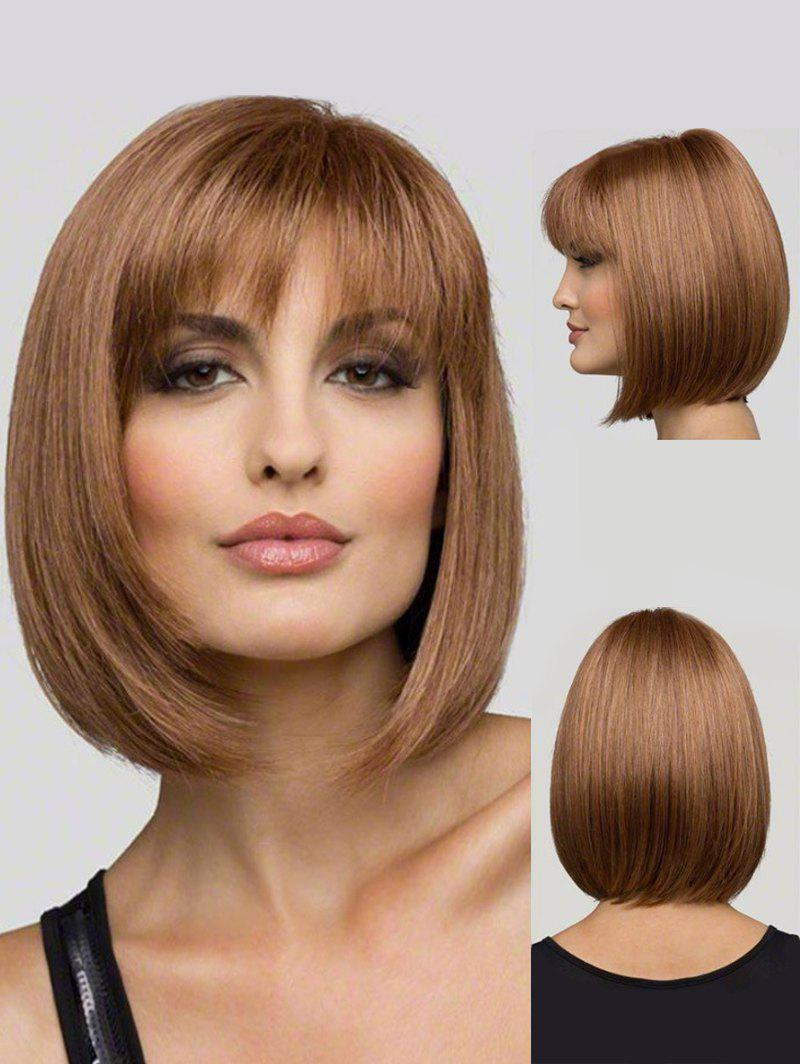 Medium See-through Bob Bang droite perruque synthétique - Orange Tigre