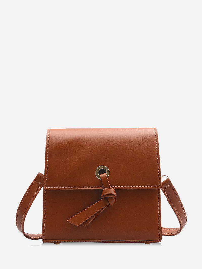 Knot Accent Mini Leather Crossbody Bag - LIGHT BROWN