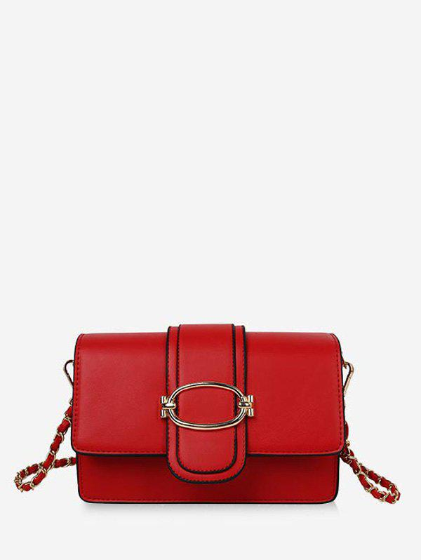 Leather Solid Square Chain Shoulder Bag - RED