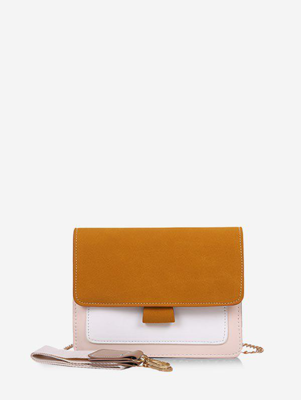 Convertible Strap Color-blocking Square Crossbody Bag - BEE YELLOW