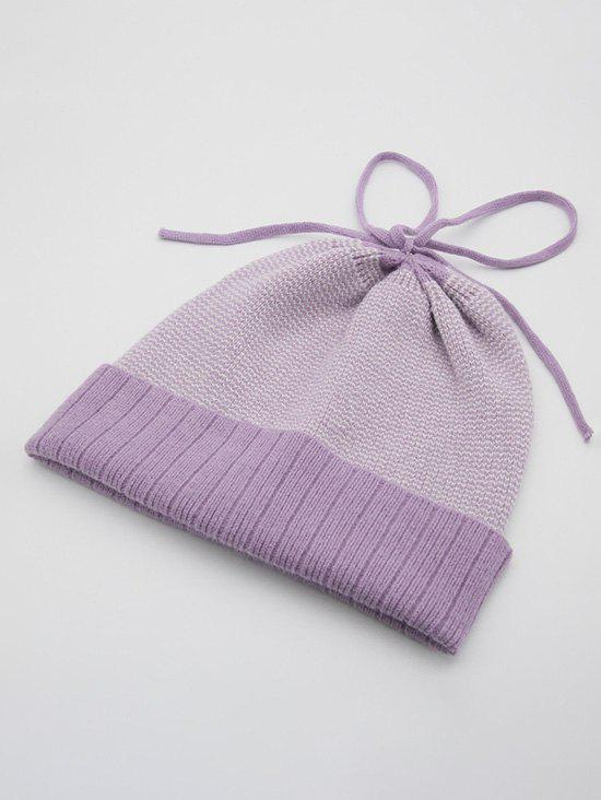 Hiver Turn Up Bord lacent Bonnet en maille - Mauve