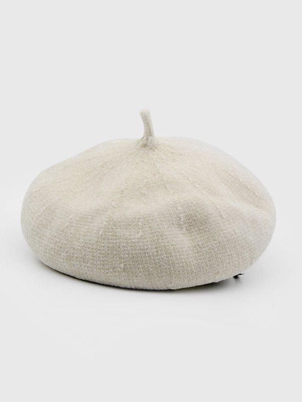 Winter Solid Knitted Painter Beret Hat - WARM WHITE