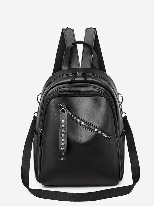 PU Double Zipper Backpack - BLACK