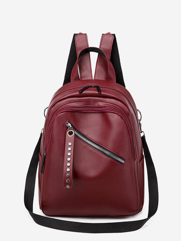 PU Double Zipper Backpack - RED