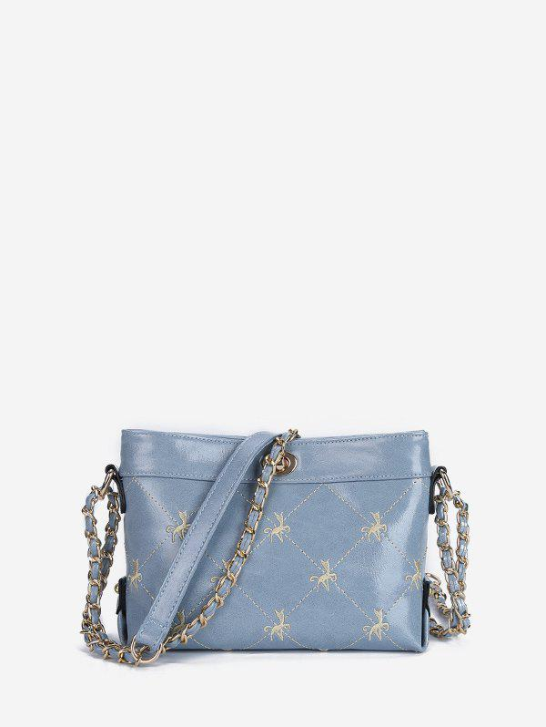 Embroidered Hasp Shoulder Bag - LIGHT SKY BLUE