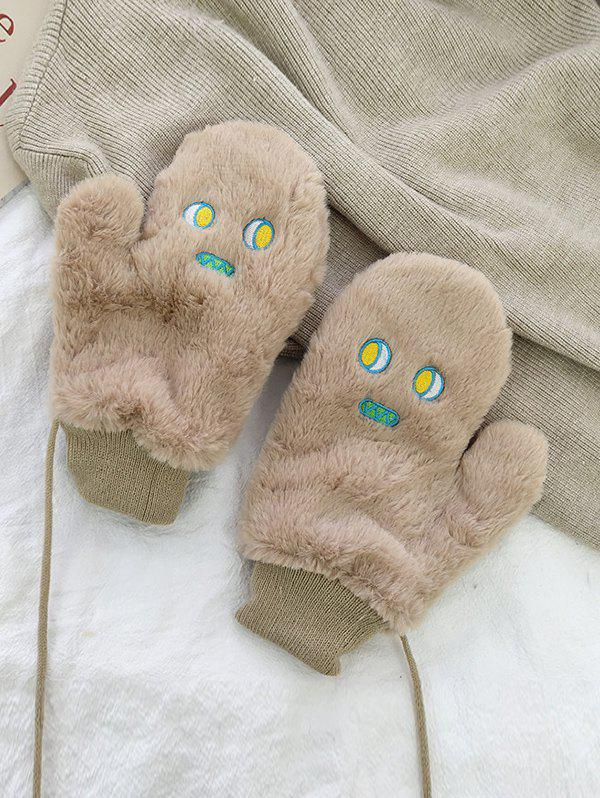 Cartoon Face Faux Fur Mitten Gloves - KHAKI