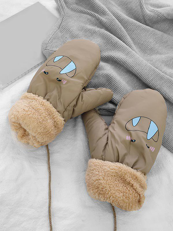Winter Cartoon Pattern Fleece Mitten Gloves - KHAKI