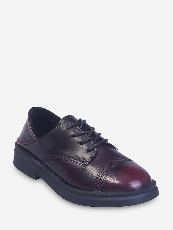 Preppy Style Lace Up Overlap Leather Shoes - RED WINE EU 37