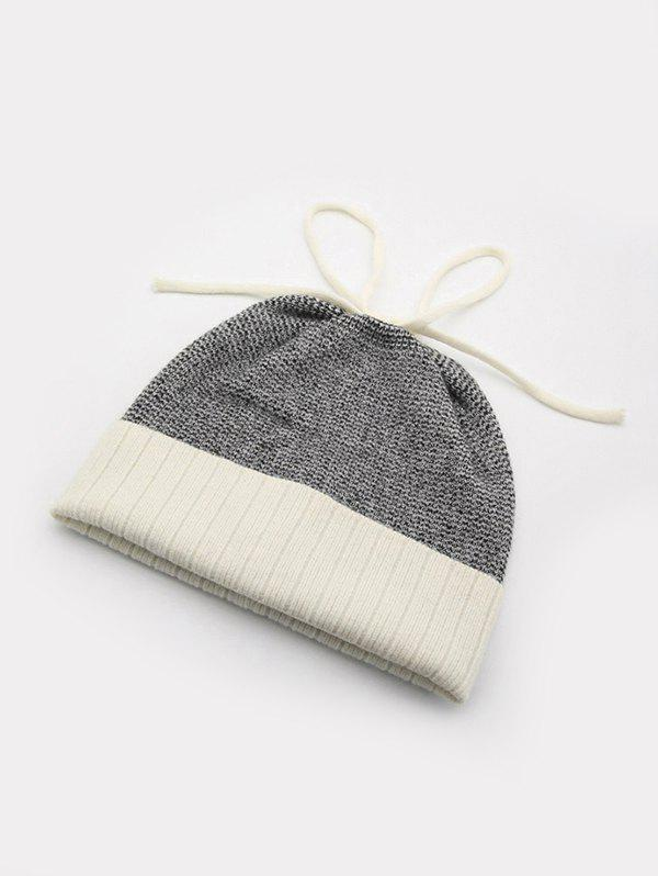 Winter Mixed Color Turn Up Edge Lace Up Knitted Hat - MILK WHITE