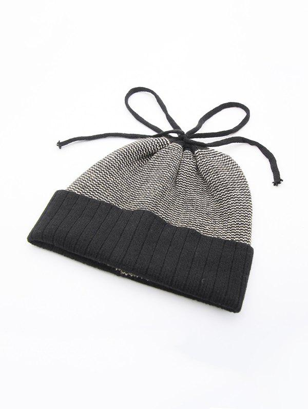 Winter Mixed Color Turn Up Edge Lace Up Knitted Hat - BLACK