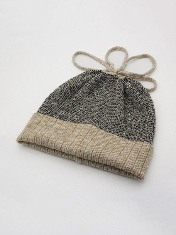 Winter Mixed Color Turn Up Edge Lace Up Knitted Hat - CAMEL BROWN