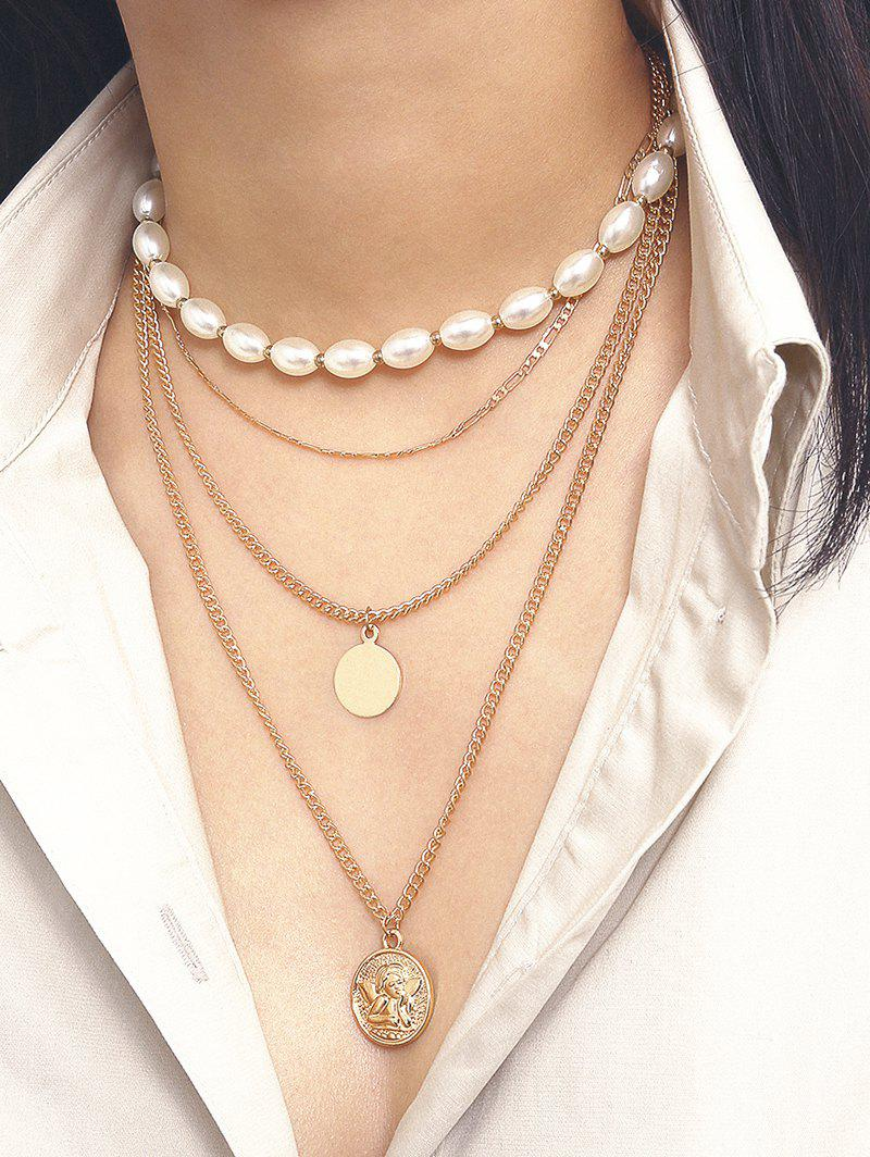 Oval Faux Pearl Angel Multilayered Necklace - GOLD