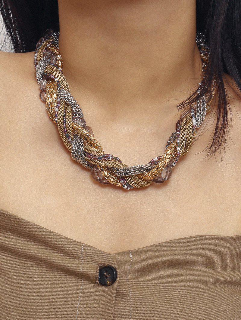 Braided Chain Beaded Chunky Necklace - multicolor A