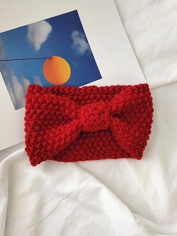 Solid Bowknot Knit Headband - RED