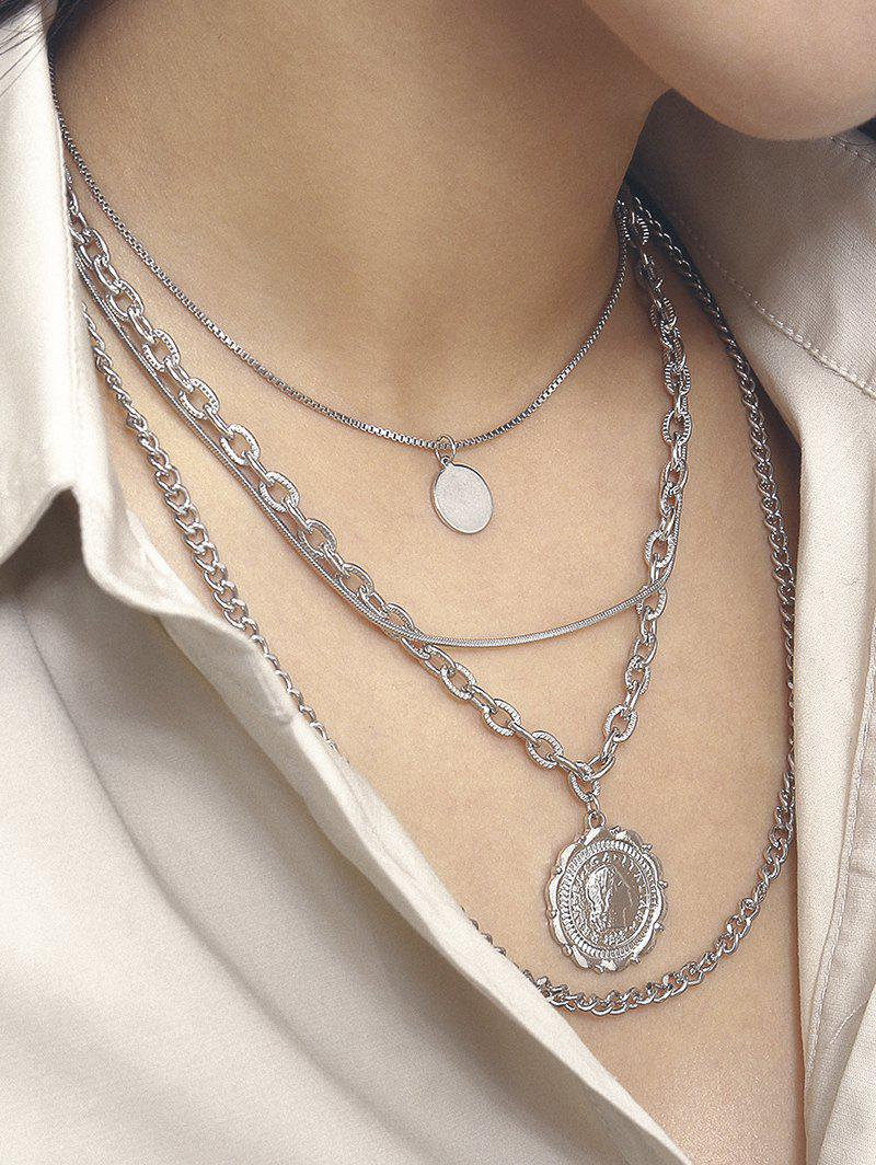 Round Pendant Portrait Multilayered Necklace - SILVER