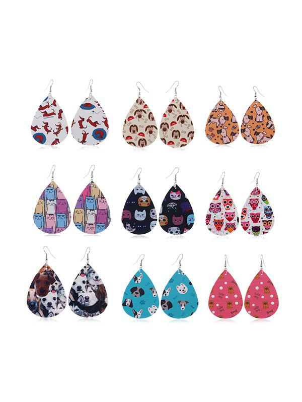Ensemble de Boucles d'Oreilles Pendantes Animal Imprimé 9 Paires - multicolor