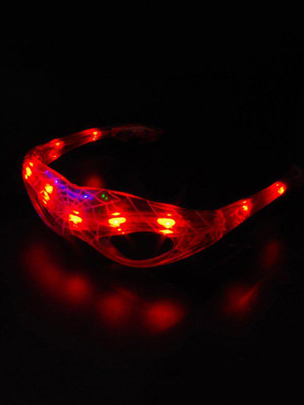 Party Accessories Spider Web Pattern LED Light Glasses - RED