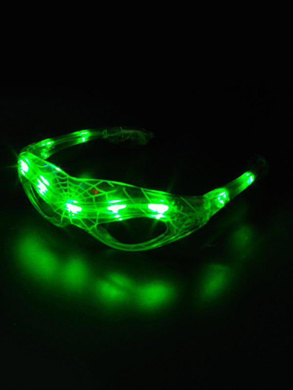 Party Accessories Spider Web Pattern LED Light Glasses - GREEN