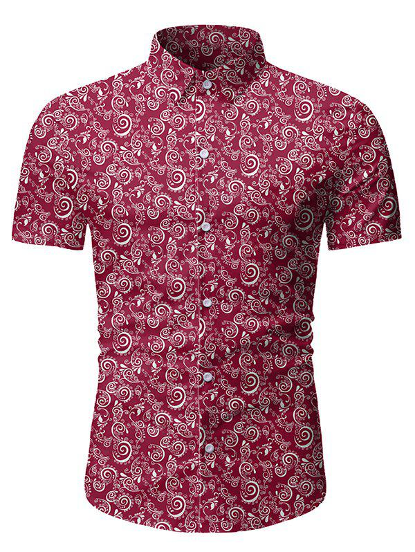 Bouton floral d'impression à manches courtes T-shirt - Rouge Vineux 2XL