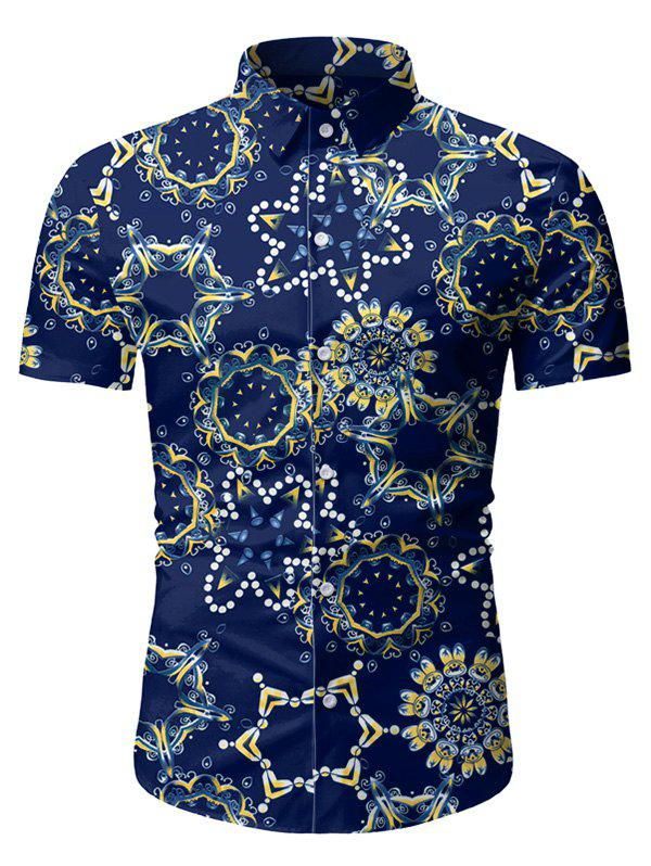 Novelty Geometric Pattern Short Sleeves Shirt - DEEP BLUE 3XL