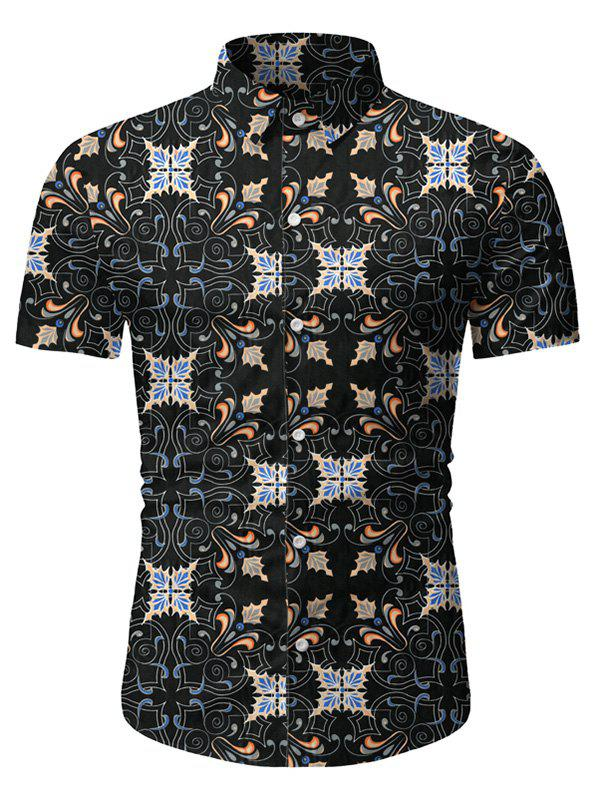 Vintage Print Button Short Sleeves Shirt - BLACK 2XL