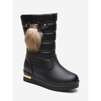 Fur Decor Quilted Leather Fleece Mid Calf Boots