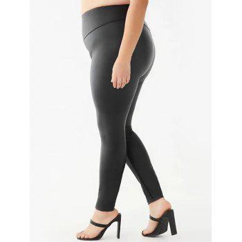 Wide Waistband Faux Leather Plus Size Leggings