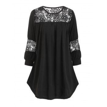 Plus Size Lace Insert Curved T Shirt