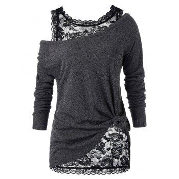 Plus Size Skew Neck Sweater with Floral Lace Top