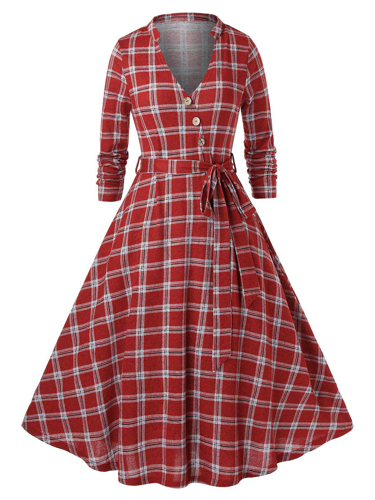 Plus Size Plaid Pattern Long Sleeve Dress - CHESTNUT RED 1X