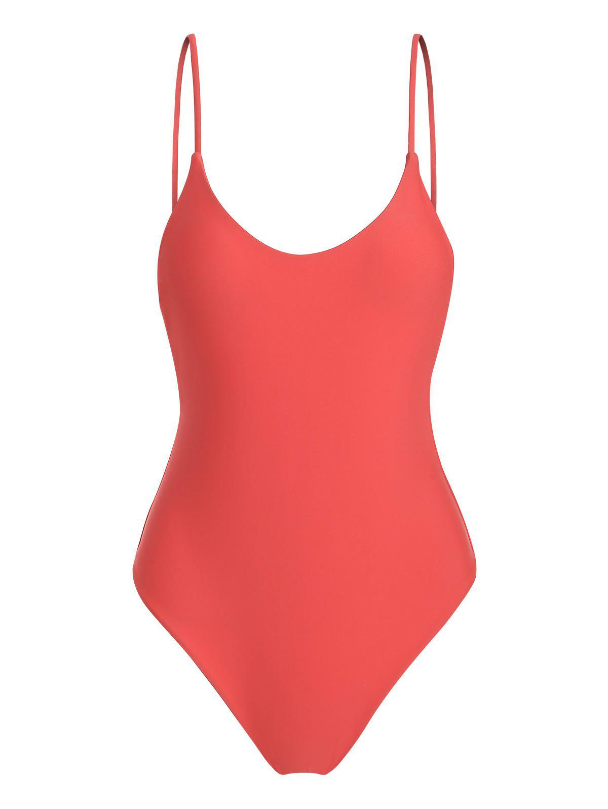 Fixed Strap One-piece Swimsuit - BEAN RED M