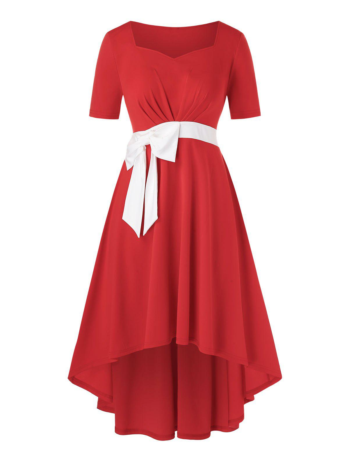 Plus Size Bowknot High Low Dress - RED L