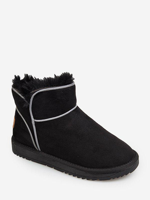 Contrast Piping Faux Fur Snow Boots - BLACK EU 35