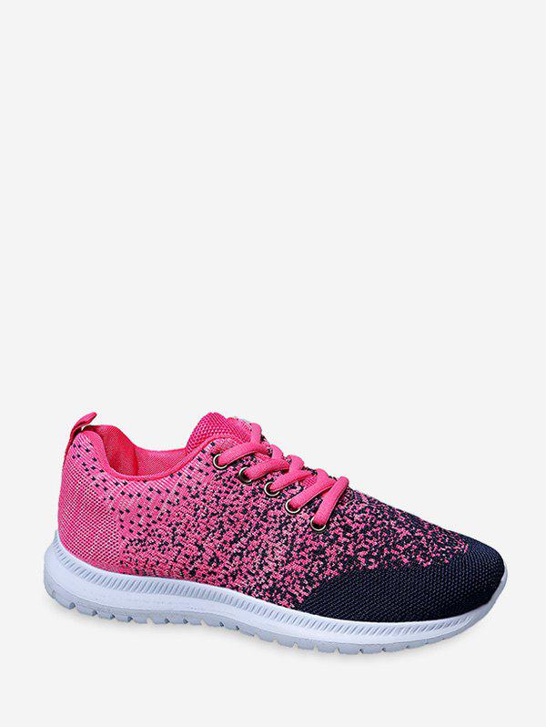 Lace Up Knitted Two Tone Sports Shoes - ROSE RED EU 36
