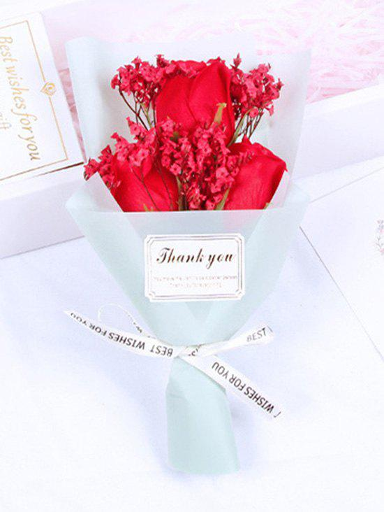 Valentines Day Gift 3 Pcs Artificial Soap Rose Flowers Bouquet - RED