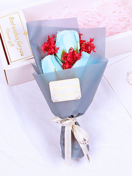 Valentines Day Gift 3 Pcs Artificial Soap Rose Flowers Bouquet - BLUE