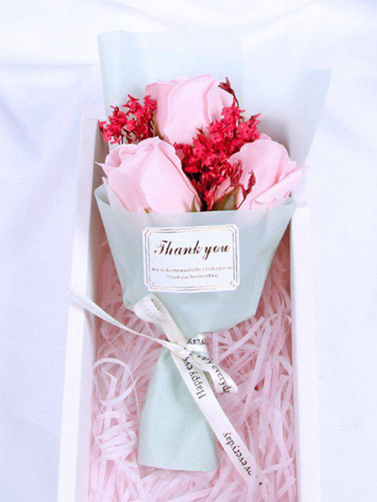 Valentines Day Gift 3 Pcs Artificial Soap Rose Flowers Bouquet - PINK