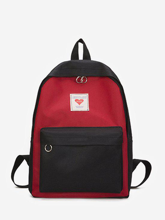 Contrast Color Large Capacity College Backpack - BLACK