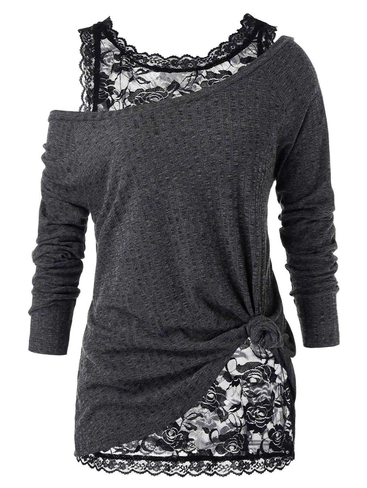 Plus Size Skew Neck Sweater with Floral Lace Top - BLACK 5X