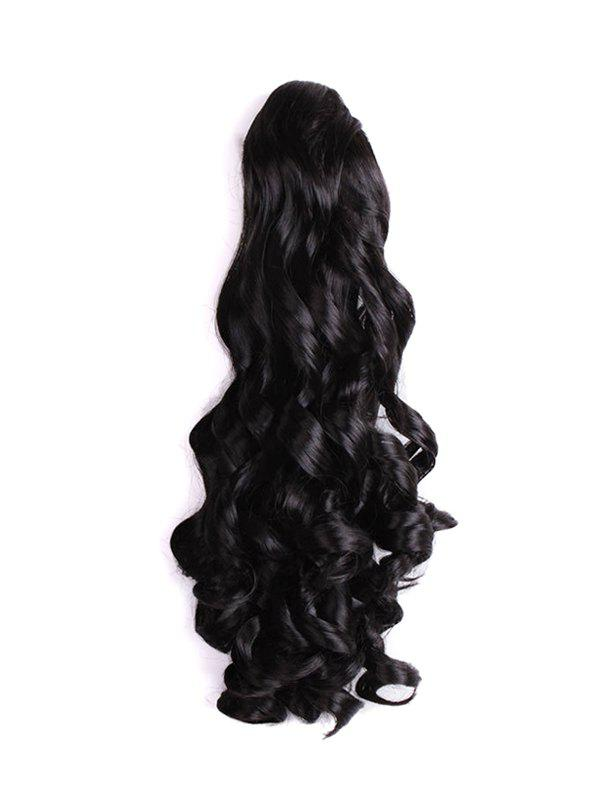 Long Big Wave Synthetic Claw Ponytail - BLACK