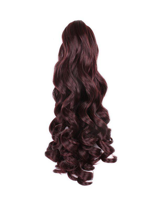 Long Big Wave Synthetic Claw Ponytail - RED WINE