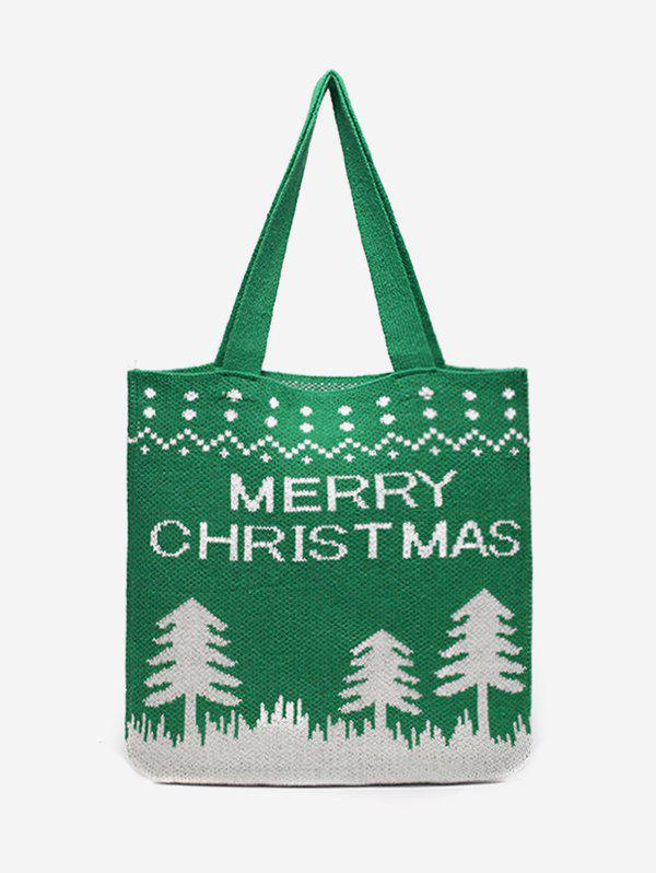Merry Christmas Printed Knitted Shoulder Bag - CLOVER GREEN