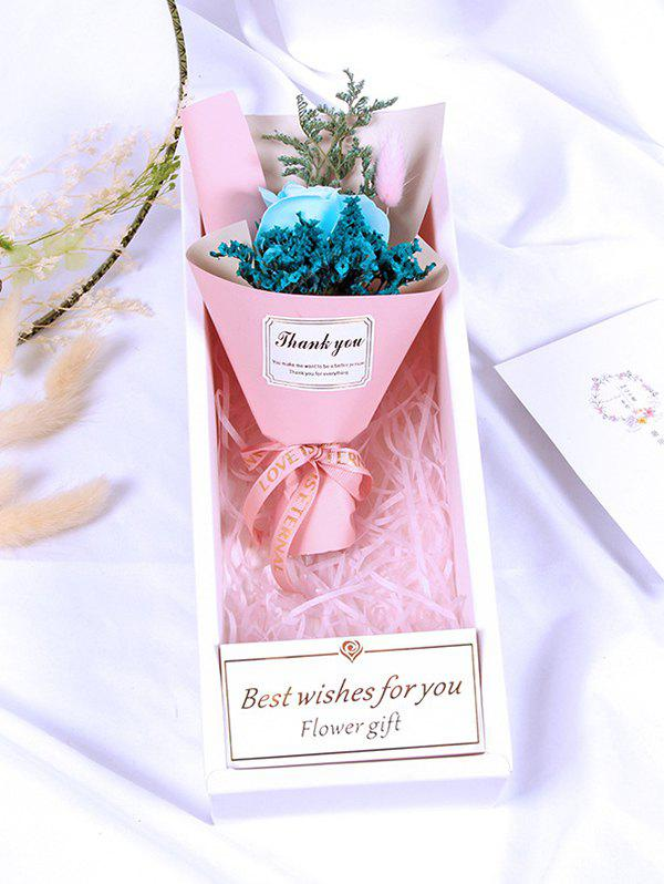 Valentine Day Gift Artificial Soap Rose Flowers Bouquet - BLUE