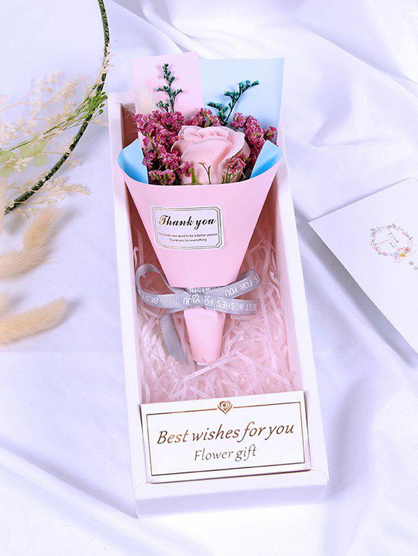 Valentine Day Gift Artificial Soap Rose Flowers Bouquet - PINK