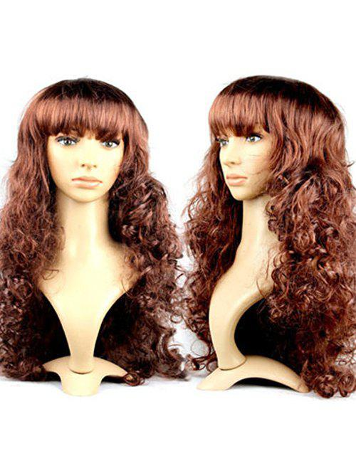 Body Wave Neat Bang Synthetic Long Wig - COFFEE