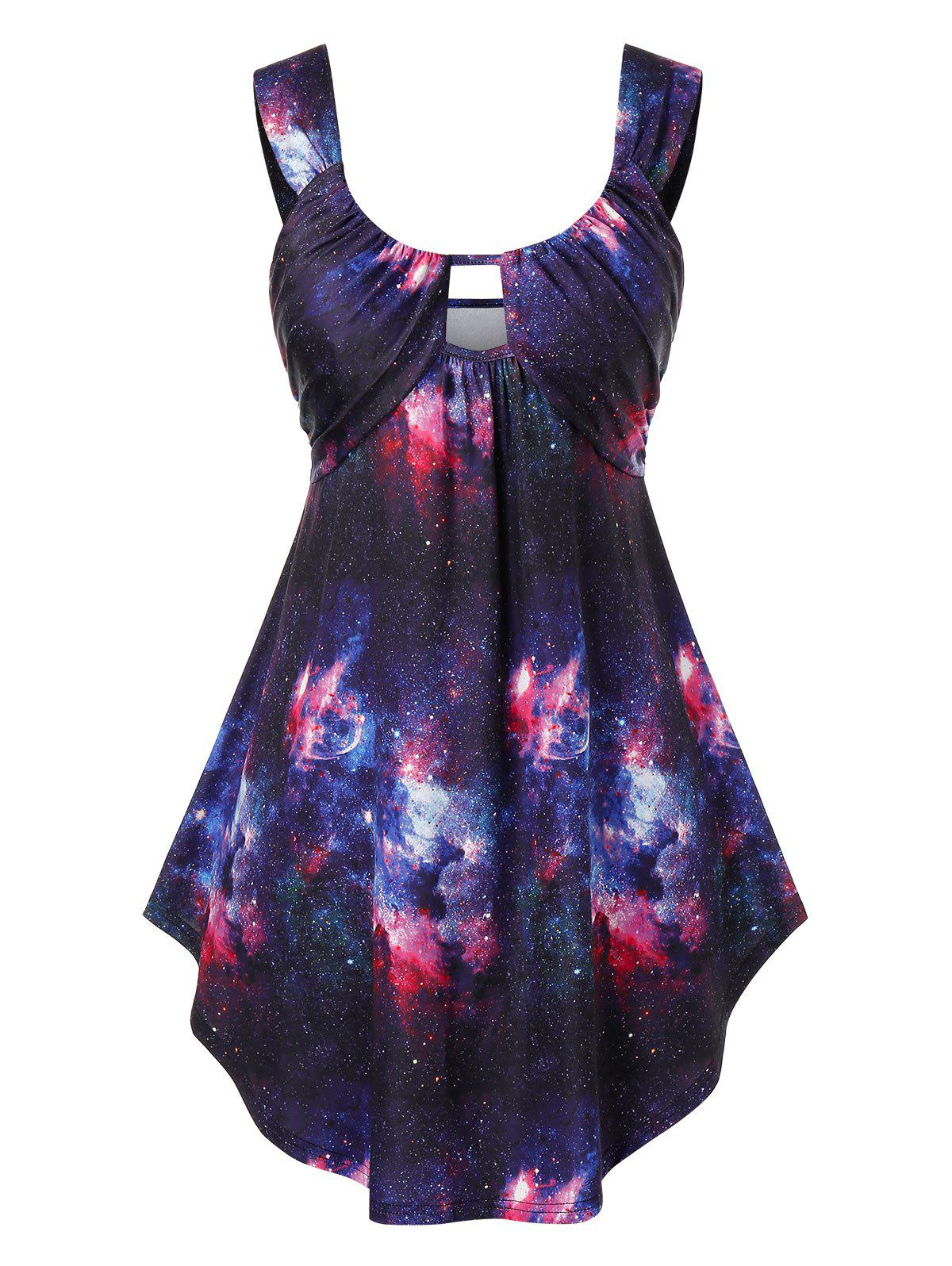 Plus Size 3D Galaxy Print Curved Tank Top - multicolor 2X