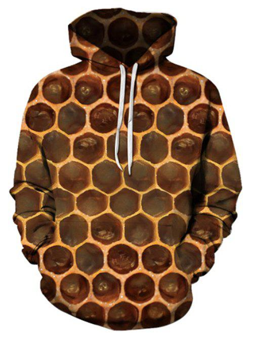 Honeycomb Pattern Pouch Pocket Hoodie - BROWN 2XL